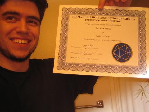 MAA Student Presentation certificate