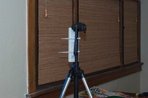 Mounts with zip ties.  Shown here on my camera tripod as a temporary measure during testing.
